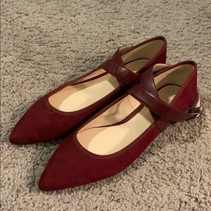 Nine West Burgundy Suede Pointed Toe Flats